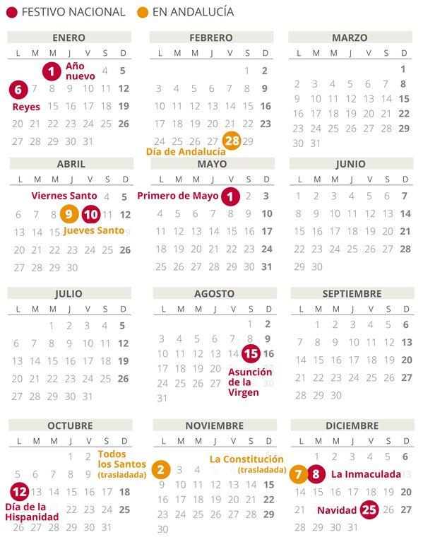 calendario laboral Andalucía 2020